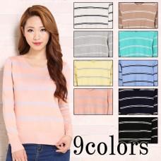 A lot of variations of color V-neck border knit tops