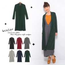 Cut material plain pocket gown style Long cardigan