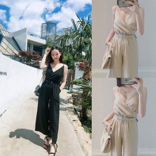 All-in-one overalls v-neck Gaucho pants Konbinezon high waist