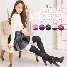 35D mesh garter stockings knee high