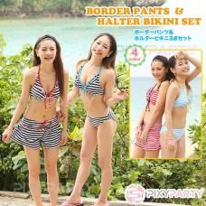 Border Pants & Halter bikini three-piece set