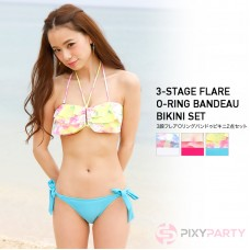 3 flounces O-ring bandeau bikini set of 2