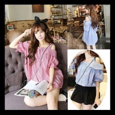 Cute plaid blouse / tops all 2 colors ★