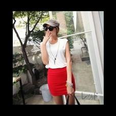 Basic color high waist tight mini skirt all five colors ★