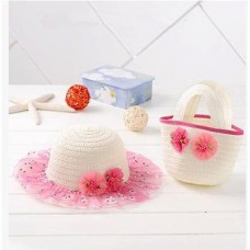 Summer new ★ Korean-style ★ Floral straw hat + straw mini tote bag, set of 2 ★